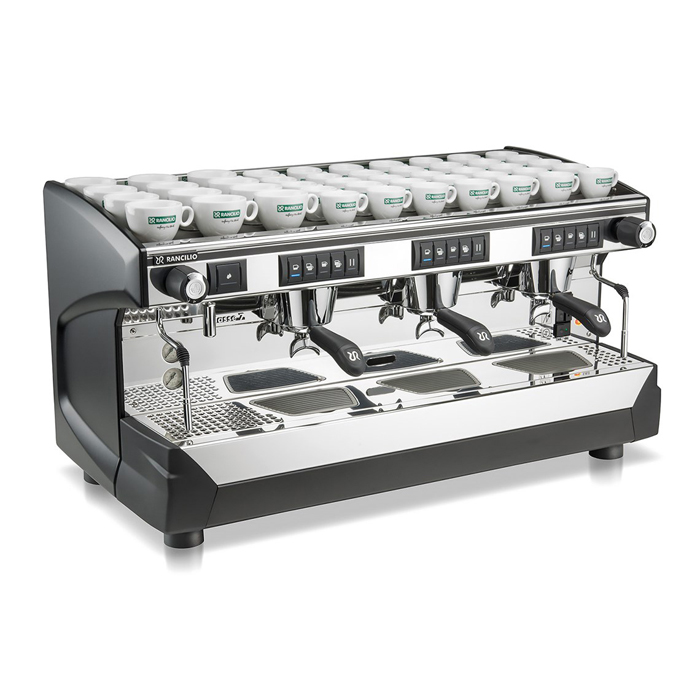 Rancilio Classe 7 3 Group espresso coffee machine Front-Side View black and silver model