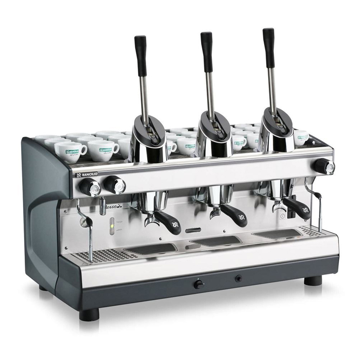 Rancilio Leva 3 group espresso machine right side view silver and black model