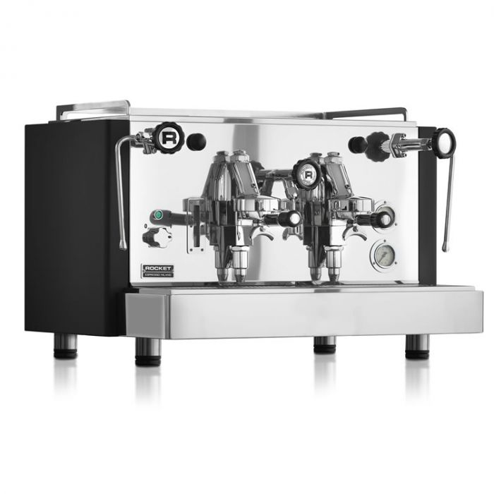 Rocket Espresso RE S 2 Group espresso coffee machine Front Side View black and silver model