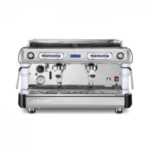 Royal first Casanova 2 group espresso machine front view chrome model