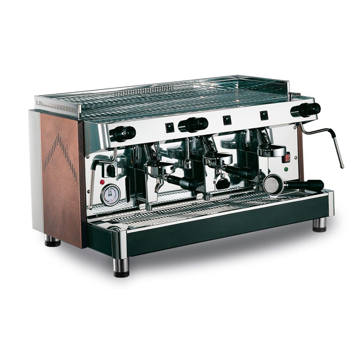 Royal First Diadema Impero 3 Group Espresso Coffee Machine Side View Black and Silver Model