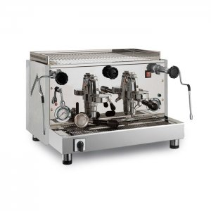 Royal First Diadema 2 group espresso machine right side view chrome model