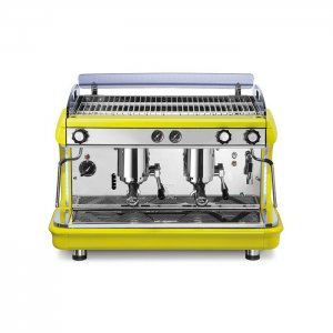 Royal First Synchro 2 group espresso machine front view yellow model