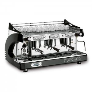Royal First Synchro 3 Group espresso machine side view chrome and black model