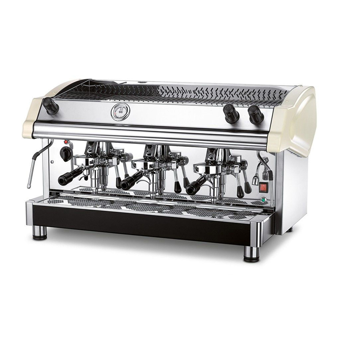 Royal first tecnica barista style coffee machine 3 group silver model left side view