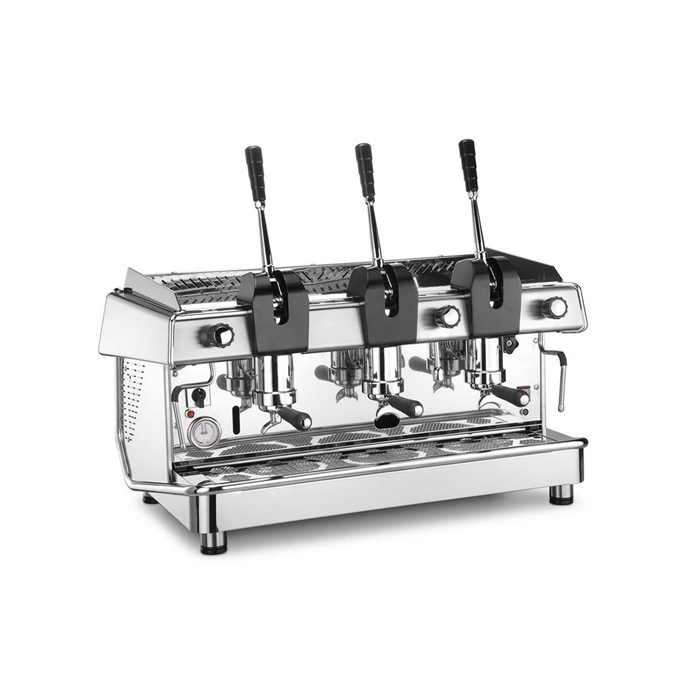 Royal Vallelunga Leva 3 Group Espresso Coffee Machine Side View Silver Model