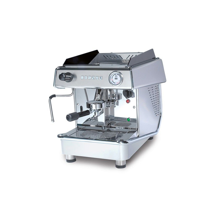 Royal First Vallelunga 1 group espresso machine left side view chrome model