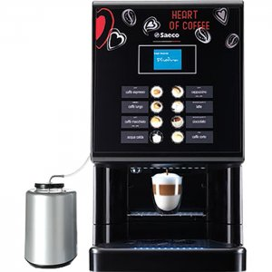 Saeco Phedra Evo Cappuccino bean to cup coffee machine front view black model