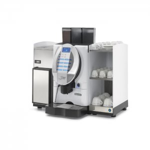 San Marco Plus 5 bean to cup coffee machine with Cup warmer and milk chiller side view silver model