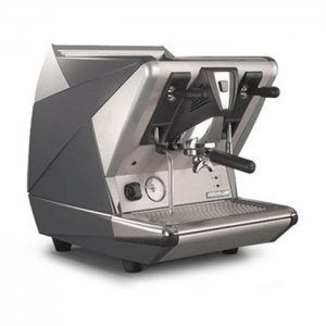 San Marco Series 100 1 group espresso machine right side view grey and silver model