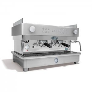 San Marco Series 105 2 group espresso machine side view silver model