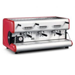 San Marco Series 85 3 Group espresso machine Side View Red and silver model