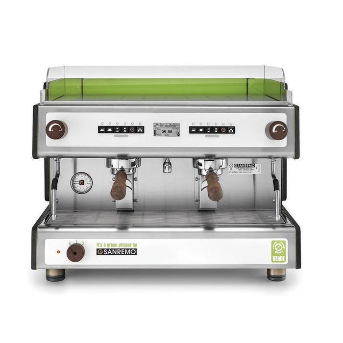 San Remo Verde Barista Style Coffee Machine 2 group silver and green model front view