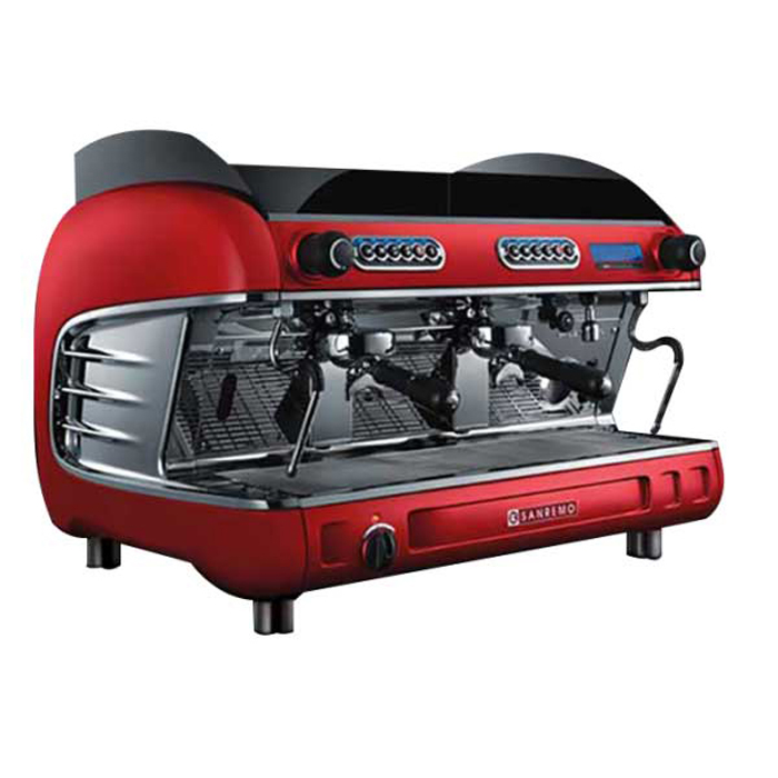 San Remo Verona SED 2 Group Espresso Coffee Machine Side View Red Model