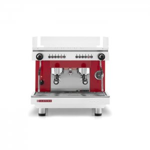 San Remo Zoe compact espresso machine 2 group red and silver model front view