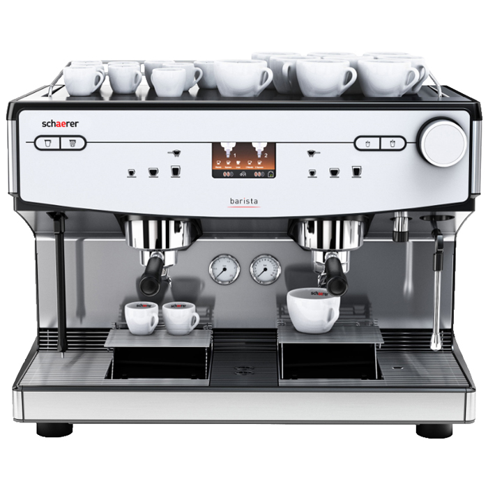 Schaerer Barista 2 Group Espresso Coffee Machine Front View Silver Model