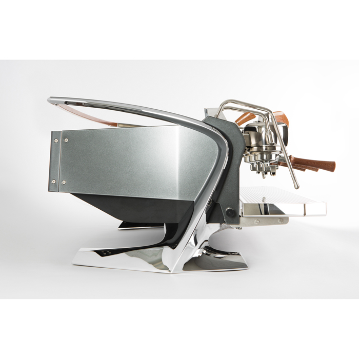 Slayer Steam 3 group espresso machine side view chrome model with wooden detail