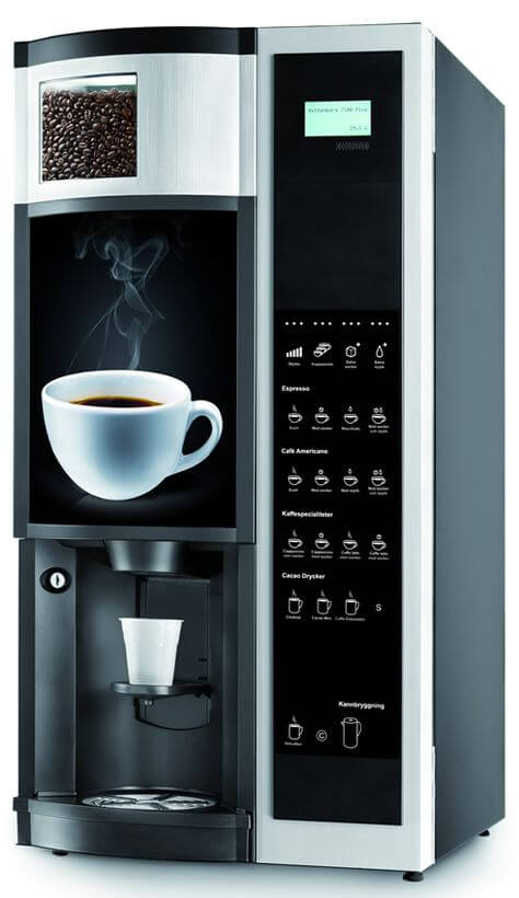 Spengler 7100 Plus bean to cup coffee machine side view, black and chrome