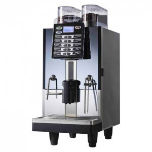 Nouva Simonelli Talento bean to cup coffee machine side view silver and black model