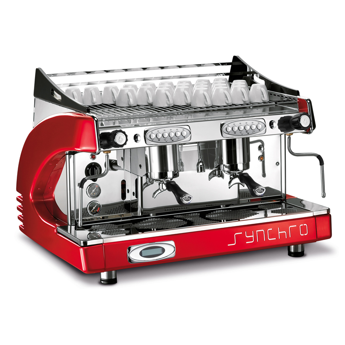 Teknomat Synchro 2 Group espresso machine Side View red and chrome model