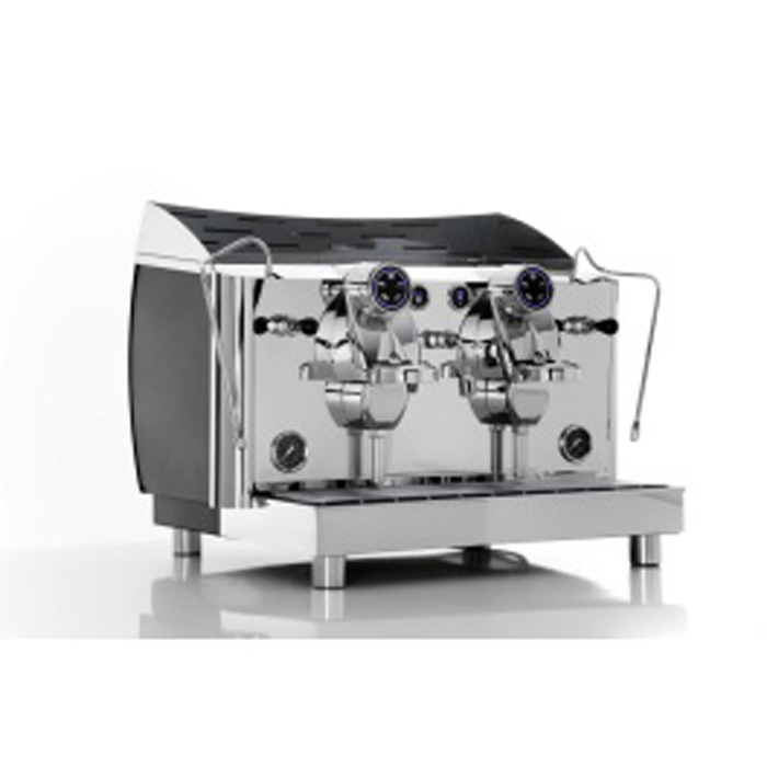 VBM Lollo 2 group espresso machine right side view chrome model with matte black detail