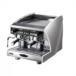 wega polaris compatta barista style coffee machine 2 group silver and black model side view