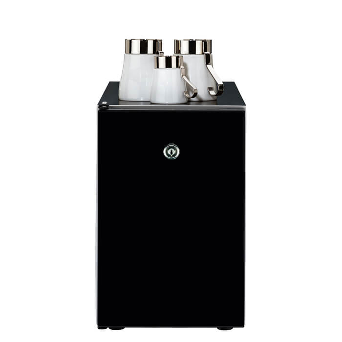WMF 3.5L milk chiller with lockable feature and cups on top black model