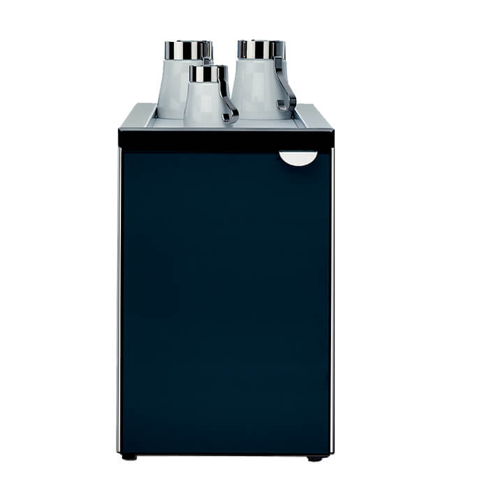 WMF 6.5L milk chiller with milk empty sensor, with cups on top of cooler