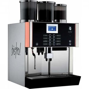 WMF bistro bean to cup coffee machine black model side view