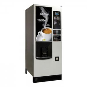 Westomatic Solo Encore commercial bean to cup coffee machine side view silver model with design panel