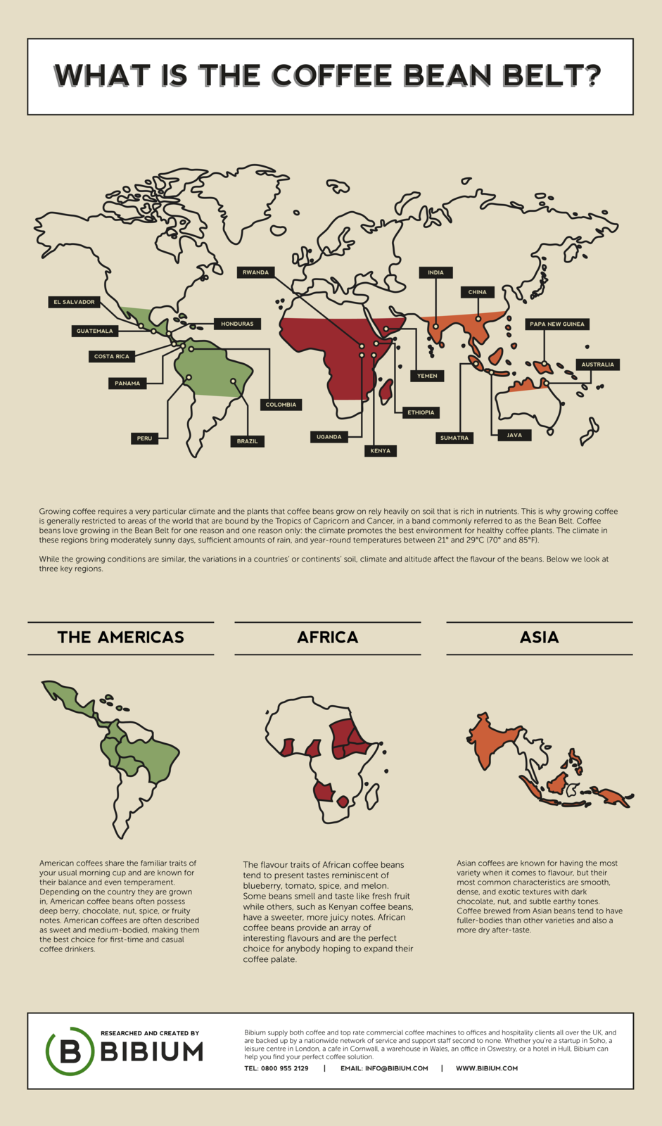 "Infographic: ""What Is The Coffee Bean Belt?"" by Bibium"