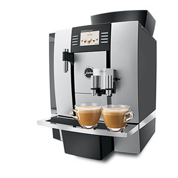 Jura Giga X3 professional bean-to-cup coffee machine side view silver model