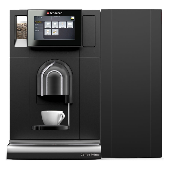 Schaerer Coffee Prime bean to cup coffee machine with milk front view black model