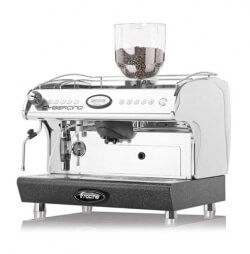 Fracino Cybercino bean to cup machine, side view, chrome