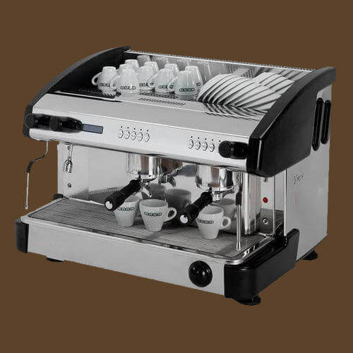 Expobar Elegance espresso machine side view with cups in chrome and black