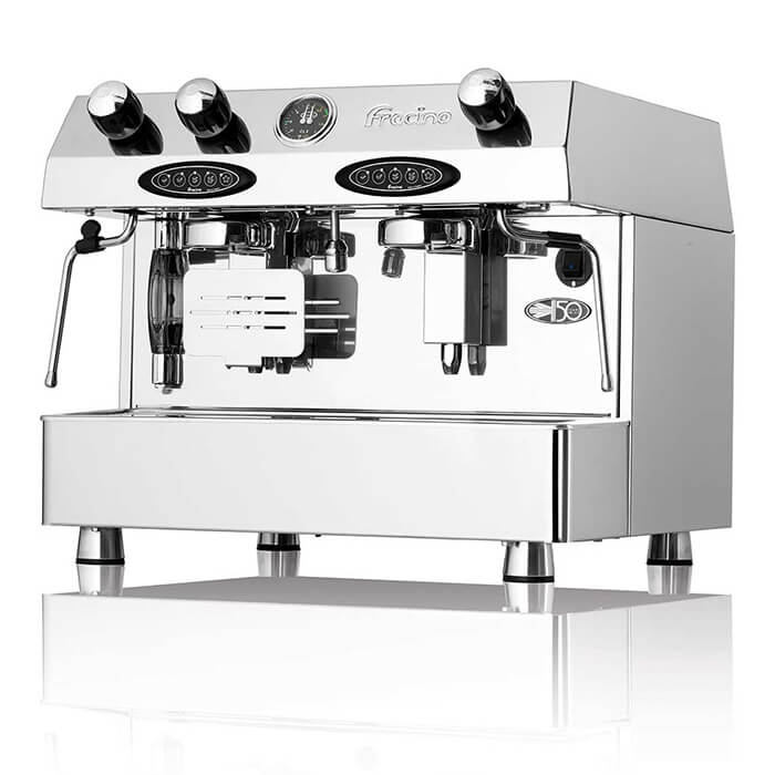 Fracino Comtempo hybrid espresso bean to cup coffee machine. Front view, chrome