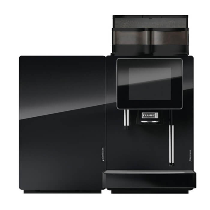 Franke A400 bean to cup coffee machine with fridge black model front view