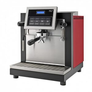 HLF TCM G1 1 Group espresso coffee machine side view red,black and silver model