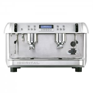 Ibertial New 2 Group Espresso Coffee Machine Front View Silver