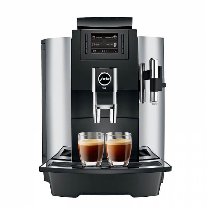 Black and Silver Jura WE8 bean to cup coffee machine front view