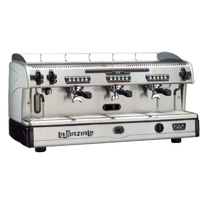 La Spaziale S5 3 group espresso machine Side View silver and black model