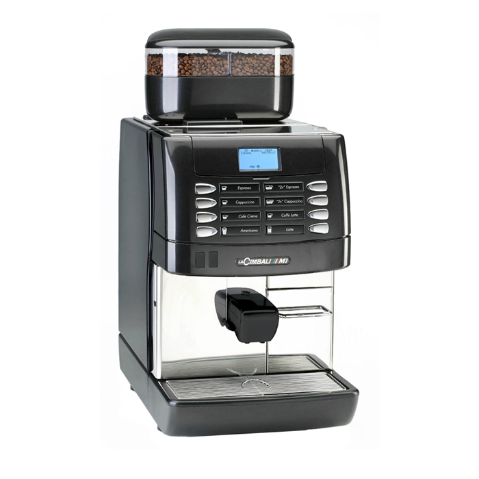 La Cimbali M1 bean to cup coffee machine Side View black and silver model