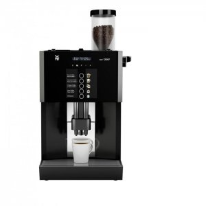 WMF 1200F bean to cup coffee machine black and silver model front view