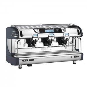 Franke T600 barista style coffee machine 2 group silver and black model side view