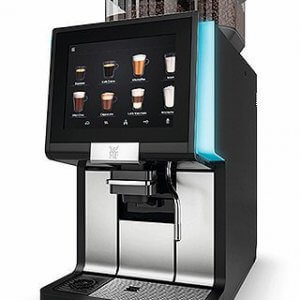 WMF 1500S+ bean to cup machine with blue LED lights side view black
