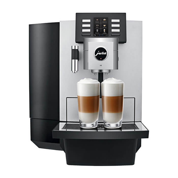 Jura JX8 Office Coffee Machine Front With 2 Milky Coffees