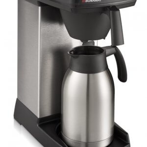 Bravilor Bonamat ISO quick filter coffee machine with flask right side view silver and black model