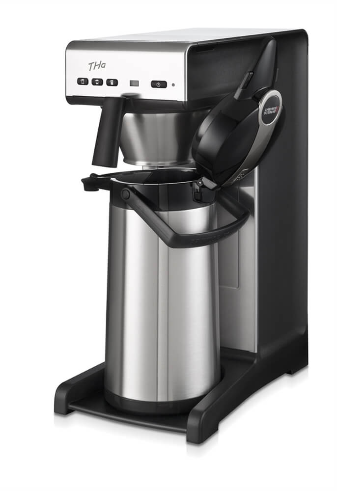 Bravilor THA commercial coffee brewer left side view black and silver model