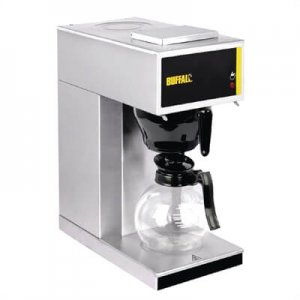 Buffalo G108 round filter coffee machine with flask right side view silver model