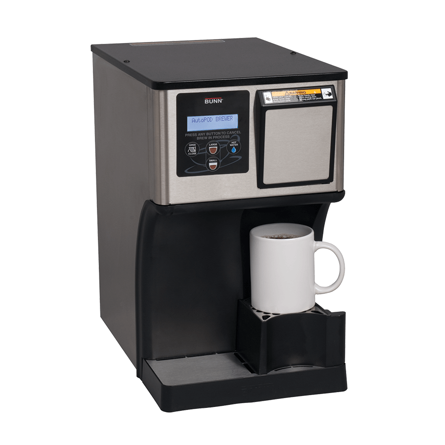 Bunn My Cafe AutoPod Pod Brewer right side view with adjustable cup height black model